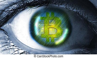 Bitcoin in the eye.