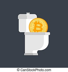 Bitcoin in toilet. Cryptocurrency drop down. Concept BTC...