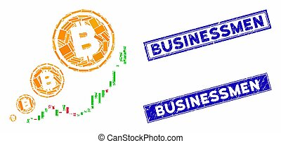 Bitcoin Inflation Chart Mosaic and Distress Rectangle Stamps