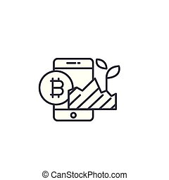 Bitcoin investment project linear icon concept. Bitcoin investment project line vector sign, symbol, illustration.