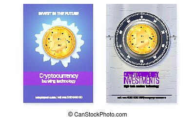 Bitcoin investment. Set of posters with golden coin of cryptocurrency. Vector 3d illustration.