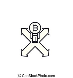 Bitcoin investment strategy linear icon concept. Bitcoin investment strategy line vector sign, symbol, illustration.