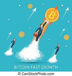 Bitcoin is fast growing. Digital, technology worldwide network concept. Businessman takes off with a coin bitcoin.