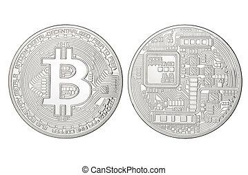 bitcoin, isolé, argent