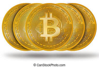 bitcoin, isolé, btc, logo, blanc, monnaie