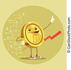 Bitcoin isolated character. Vector flat cartoon illustration