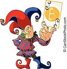 Bitcoin Joker - Vector illustration of a Joker or a Jester,...