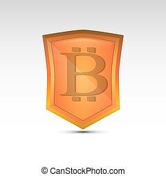 bitcoin, laranja, escudo