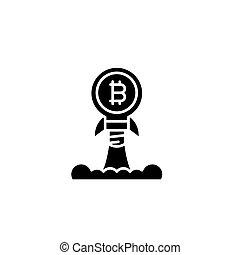 Bitcoin launch black icon concept. Bitcoin launch flat  vector symbol, sign, illustration.