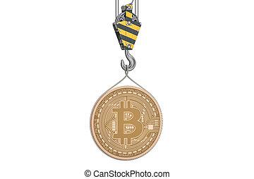 bitcoin, levantamento, ligado, guindaste, gancho, 3d, fazendo