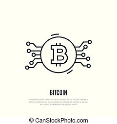 Bitcoin line icon. Cryptocurrency vector illustration.