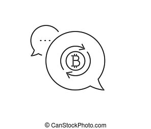 Bitcoin line icon. Refresh cryptocurrency coin sign. Vector