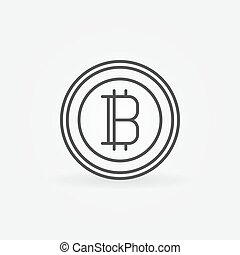 Bitcoin line icon. Vector cryptocurrency round minimal sign