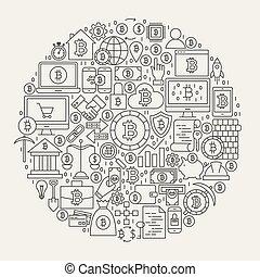 Bitcoin Line Icons Circle