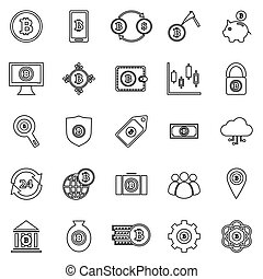 Bitcoin line icons on white background