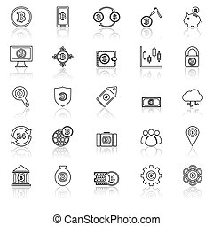 Bitcoin line icons with reflect on white background