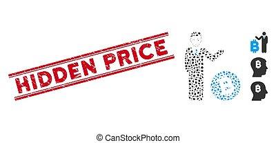 bitcoin, linha, preço, colagem, escondido, homem negócios, selo, textured, ícone