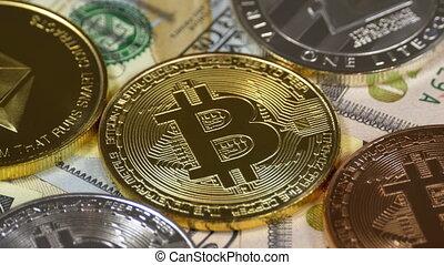 Bitcoin, Litecoin, Ethereum and Dash Coins, BTC, LTC, ETH,...