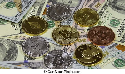 Bitcoin, Litecoin, Ethereum and Dash Coins, BTC, LTC, ETH, DASH and Bills of Dollars are Rotating