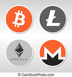 Bitcoin, Litecoin, Ethereum, Monero logo