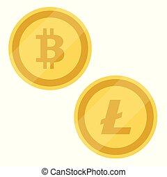 Bitcoin, Litecoin vector - Bitcoin and Litecoin symbols ....