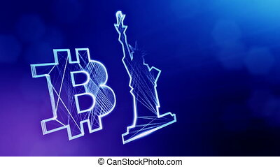 Bitcoin logo and a statue of freedom. Financial background...