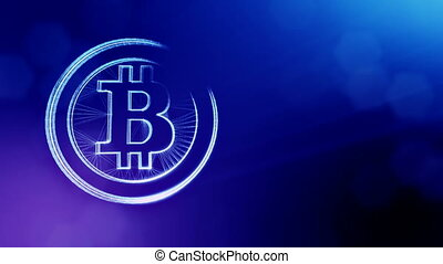 bitcoin logo inside circles like coin. Financial background made of glow particles as vitrtual hologram. Shiny 3D loop animation with depth of field, bokeh and copy space. Blue version 3