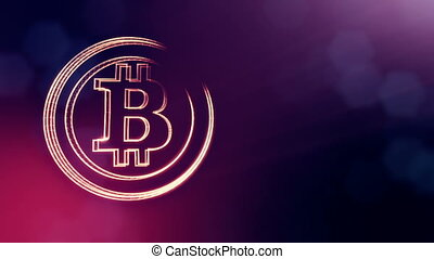 bitcoin logo inside circles like coin. Financial background made of glow particles as vitrtual hologram. Shiny 3D loop animation with depth of field, bokeh and copy space. Violet V4
