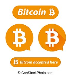 Bitcoin logo sign button set