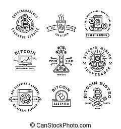 Bitcoin logo templates set. Cryptocurrency badge collection. Digital money icons. Outline coin vector design.