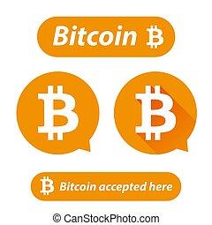 bitcoin, logotipo, sinal, botão, jogo