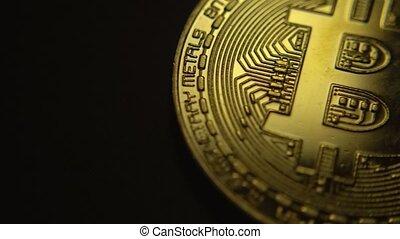 Bitcoin macro symbol sign close-up golden coin