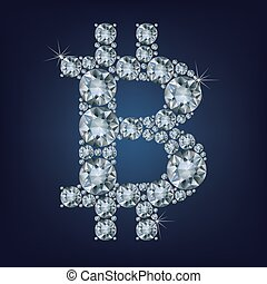 Bitcoin made a lot of diamonds. Cryptocurrency.
