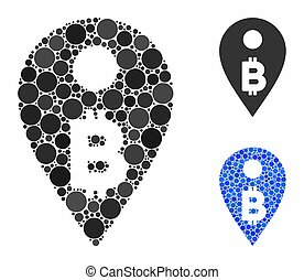 Bitcoin map marker Composition Icon of Circle Dots