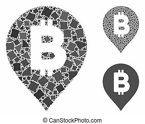 Bitcoin map marker Composition Icon of Inequal Pieces