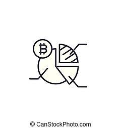 Bitcoin market analysis linear icon concept. Bitcoin market analysis line vector sign, symbol, illustration.