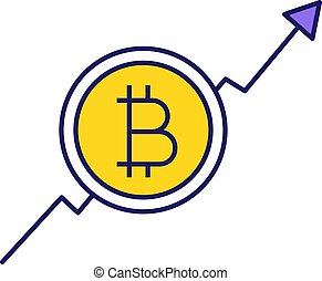 Bitcoin market growth chart color icon