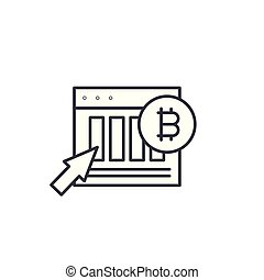Bitcoin market indicators linear icon concept. Bitcoin market indicators line vector sign, symbol, illustration.