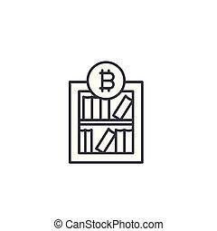 Bitcoin market research linear icon concept. Bitcoin market research line vector sign, symbol, illustration.
