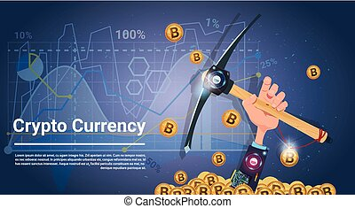 bitcoin, minería, concepto, tenencia de la mano, pico,...