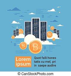 bitcoin, minería, granja, concepto, digital, virtual, crypto, centro de datos, almacenamiento