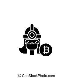 Bitcoin miner black icon concept. Bitcoin miner flat vector symbol, sign, illustration.