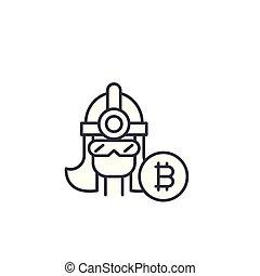 Bitcoin miner linear icon concept. Bitcoin miner line vector sign, symbol, illustration.