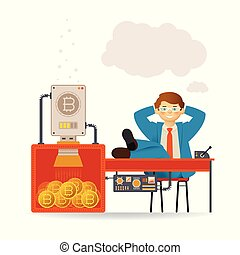 Bitcoin mining and carefree businessman vector concept with...