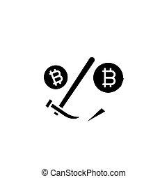 Bitcoin mining black icon concept. Bitcoin mining flat vector symbol, sign, illustration.