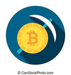 Bitcoin Mining Circle Icon. Vector Illustration Flat Style...