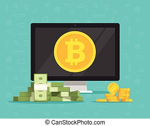 Bitcoin mining concept and paper money exchange vector illustration, flat cartoon of desktop computer pc with cryptocurrency coins on screen and paper and golden money, idea of future banking