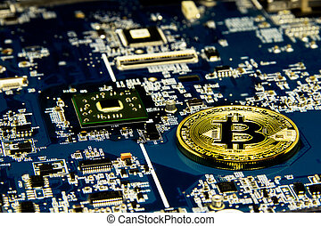 Bitcoin Mining Concept. Bitcoin concept - Printed circuit board with bitcoin processor and microchips. Gold Bitcoin on the microchip board