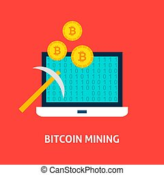 Bitcoin Mining Concept. Vector Illustration with Laptop and...