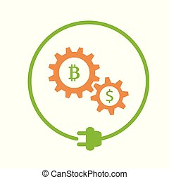 Bitcoin mining flat icon - Bitcoin and dollar signs in the...